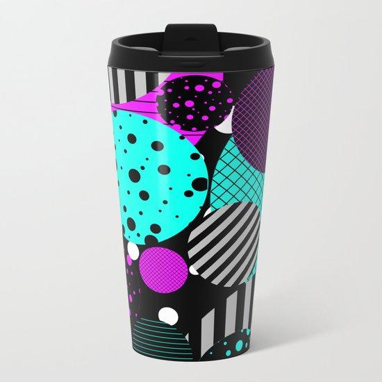 Circles, Bubbles And Stripes Metal Travel Mug