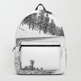 Snow Road // Snowy Winter Wonderland Black and White Landscape Photography Ski Poster Backpack