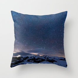 Arctic Night Sky With Bright Stars Blue And Orange Sky Throw Pillow
