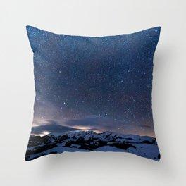 Arctic Night Sky With Bright Stars Blue And Orange Sky Throw Pillow