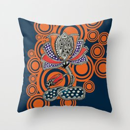 Madhubani - Lotus Fish 2 Throw Pillow