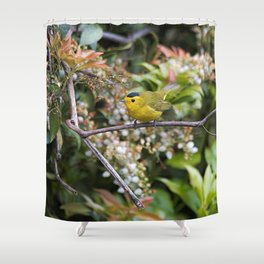 Cute Wilson's Warbler on the Grapevine Shower Curtain