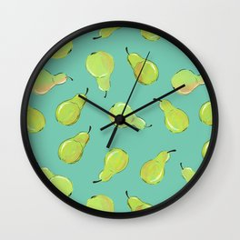 Pears on Turquoise Wall Clock