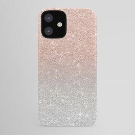 Modern trendy rose gold glitter ombre silver glitter iPhone Case