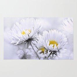 Flowers white macro 072 Rug