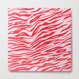 Pink & Red Animal Stripes Metal Print