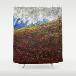 Poppy Field on Stone Shower Curtain