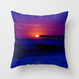 Wicked Purple Blue Pier Beach Sunset Throw Pillow