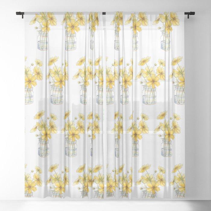 Yellow Cosmos, Still Life Sheer Curtain
