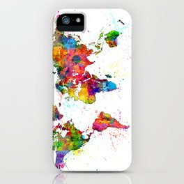 Map of the World Map Watercolor iPhone Case