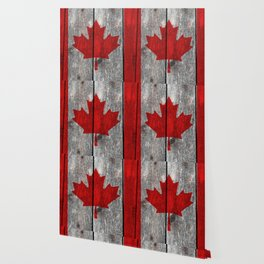 Canada flag on heavily textured woodgrain Wallpaper