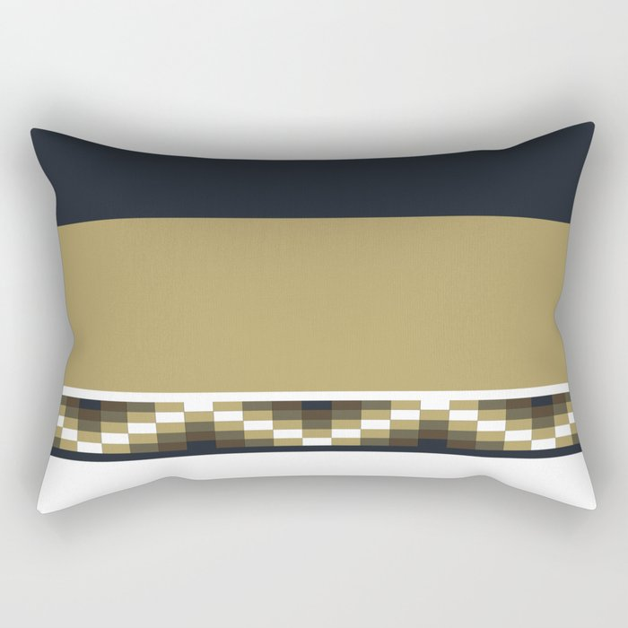 Block Wave Illustration 2 Thick Bold Horizontal Lines Digital Artwork Rectangular Pillow