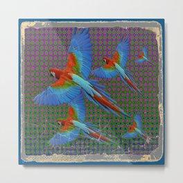 SHABBY CHIC BLUE MACAWS FLIGHT Metal Print
