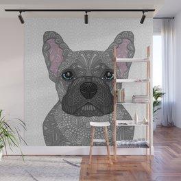 Blue French Bulldog Wall Mural
