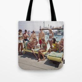 1960's Teenagers playing the guitar by the Gondolier Motel pool in Wildwood, NJ Tote Bag