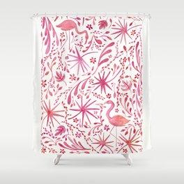 Flamingos at the Beach Shower Curtain