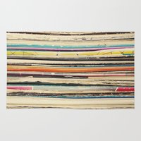 cassia beck Area & Throw Rugs featuring Record Collection by Cassia Beck