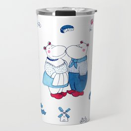 Adorable Dutch hippos in Delft blue style Travel Mug