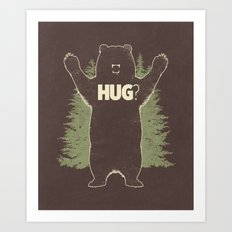 Bear Hug? (dark version) Art Print