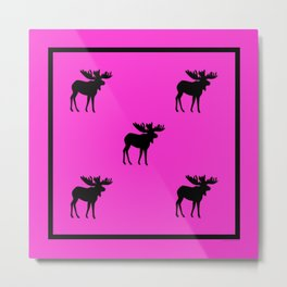 Bull Moose Silhouette - Black on Pink Metal Print