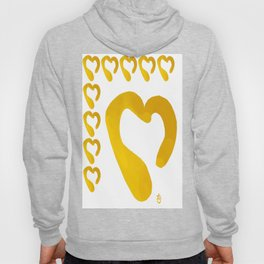 Gold Hearts on White - Love is Golden Hoody