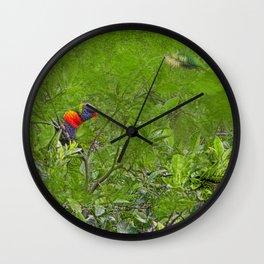 Grunge Rainbow Lorikeets in a tree Wall Clock