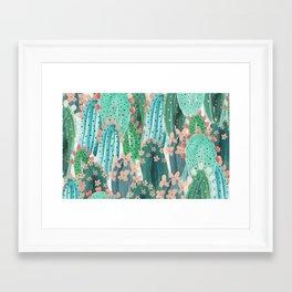 Colorful watercolor cacti Framed Art Print