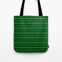 Dividers 02 in Green over Black Tote Bag