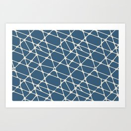 Linen White & Blue Abstract Mosaic Pattern 2 Pairs To 2020 Color of the Year Chinese Porcelain Art Print