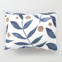 Watercolor berries and branches - indigo and beige Pillow Sham