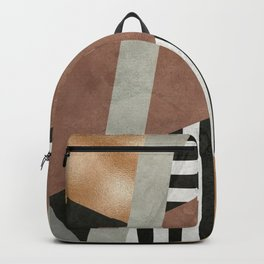 Abstract Geometric Composition in Copper, Brown, Black Backpack
