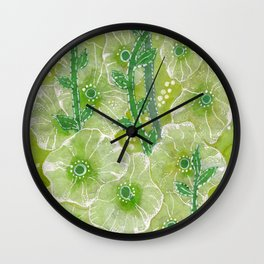 Hollyhock Mallows, Summer Flowers, Floral Collage Chartreuse Wall Clock