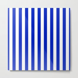 Cobalt Blue and White Vertical Beach Hut Stripe Metal Print