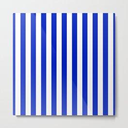 Cobalt Blue and White Vertical Beach Hut Stripe Metal Print