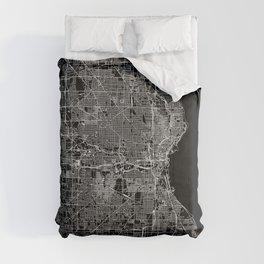 Milwaukee Black Map Comforters