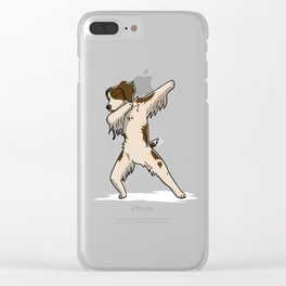 Funny Dabbing Brittany Spaniel Dog Dab Dance Clear iPhone Case