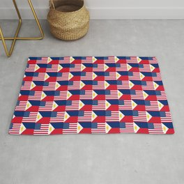 Mix of flag : philippines and Usa Rug