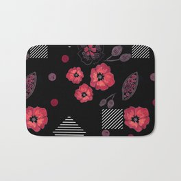 Watercolor . Red poppies .  Black . Bath Mat