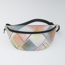 Watercolour Diamonds // Geometric diamond shapes in watercolour with rose gold metallics Fanny Pack