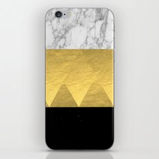 Stacked - gold foil black and marble cell phone case golden urban minimal retro modern city hipster  iPhone & iPod Skin