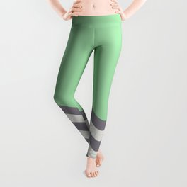 Pastel Green, Gray & Linen White Wavy Stripes 2 Pairs to Coloro 2020 Color of the Year Neo Mint Leggings