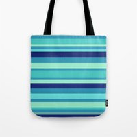 preppy Tote Bags featuring Preppy Stripes - Aqua Blues by Sweet Karalina