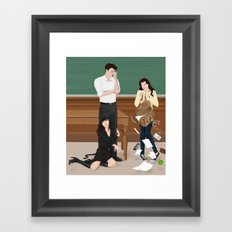 the professor, the pet and the frightened rabbit Framed Art Print