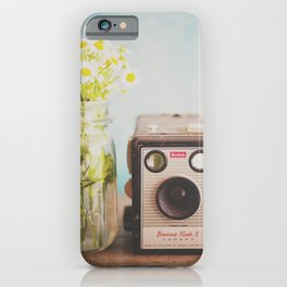 A vintage Kodak camera & a jar full of daisies. iPhone Case
