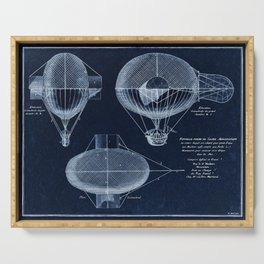Antique Blueprint French Balloon Airship, Steampunk Serving Tray