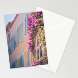 Bougainvillea House | France Europe Pastel Flower Travel Photography | Floral Art Print Stationery Cards