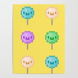 Cute Kawaii Pixel Lollipops Poster
