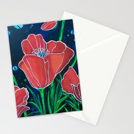 Stylized Red Poppies Stationery Cards