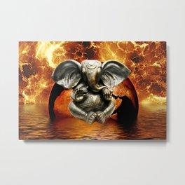 Elephant Ganesha and Earth Metal Print