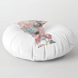 Vermont map Portrait Floor Pillow